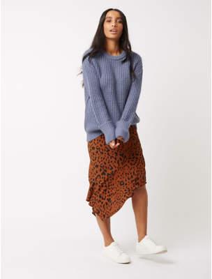 George Burnt Orange Animal Print Asymmetric Midi Skirt