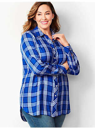 Talbots Longer-Length Button-Front Shirt - Blue Plaid