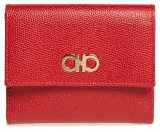Women's Salvatore Ferragamo Gancini Leather Wallet - Red $460 thestylecure.com