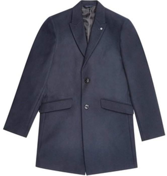 Womens **Burton Navy Faux Wool Chesterfield Overcoat