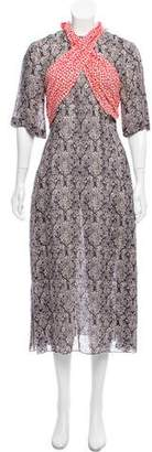 Rosie Assoulin Damask Print Midi Dress w/ Tags