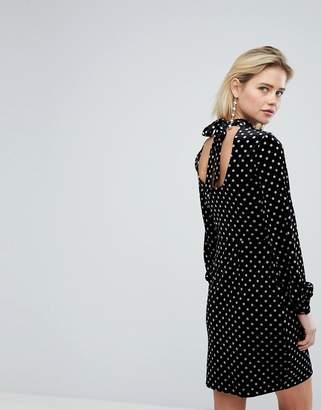 Warehouse Spot Velvet Shift Dress