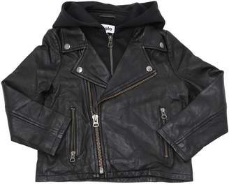 Molo Hooded Leather Jacket