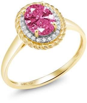 Gem Stone King 10K Yellow Gold Ring White Diamond and Set with Pink Zirconia from Swarovski