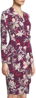Iconic American Designer Floral Faux-Wrap Midi Dress