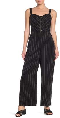 &.Layered Striped Button Front Smocked Jumpsuit