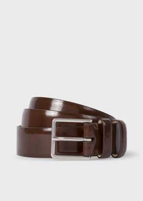 Paul Smith Men's Chocolate Brown High-Shine Leather Double Keeper Belt