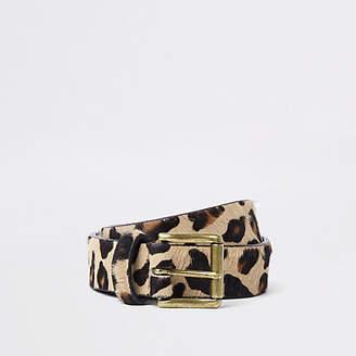 River Island Brown leopard print belt