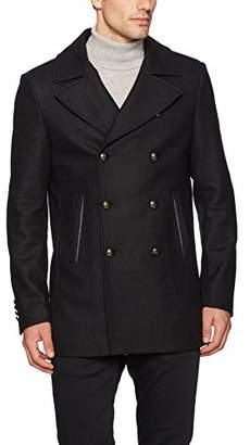 John Varvatos Men's Peacoat with Zipper Teeth Trim