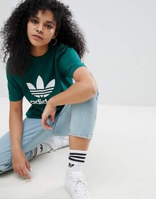 adidas adicolor Trefoil Oversized T-Shirt In Green