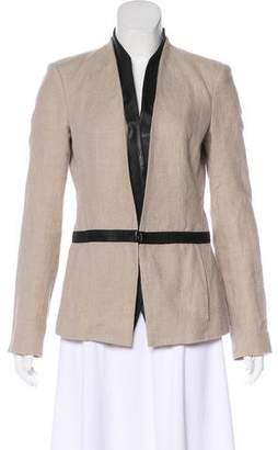 Helmut Lang Leather-Accented Linen Blazer