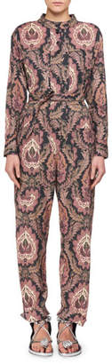 Isabel Marant Xulia Long-Sleeve Belted Printed Straight-Leg Jumpsuit
