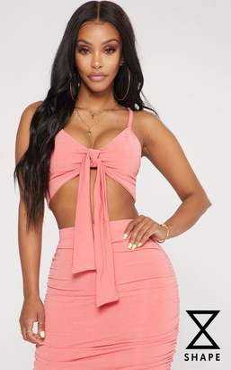 PrettyLittleThing Shape Coral Slinky Tie Front Crop Top