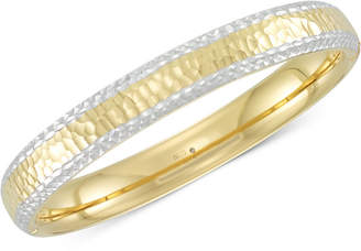 Signature Gold Two-Tone Textured Bangle Bracelet in 14k Gold & White Gold over Resin
