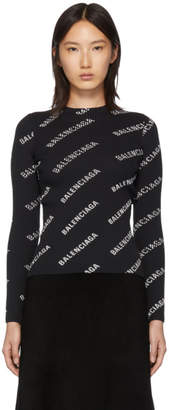 Balenciaga Black Ribbed Diagonal Logo Crewneck