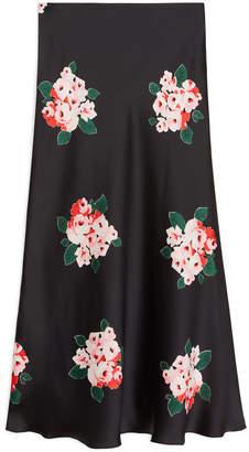 Arket Floral Satin Skirt