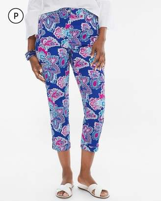 Comfort Waist Petite Luxe Utility Outline Floral Crops