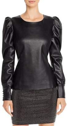 Aqua Capsule Puff-Sleeve Faux Leather Top - 100% Exclusive