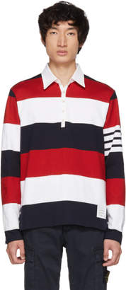 Thom Browne Red and White Four Bar Relaxed Polo
