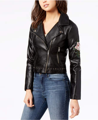 Maralyn & Me Juniors' Embroidered Faux-Leather Moto Jacket