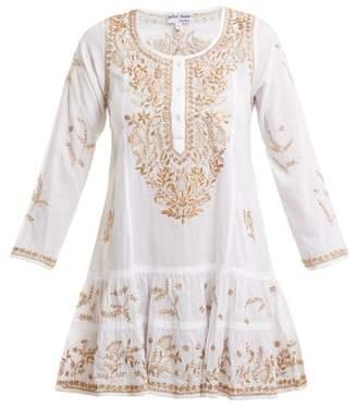Juliet Dunn Metallic Embroidered Cotton Kaftan - Womens - White Multi