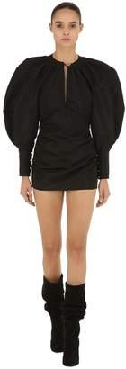 Taffeta Puff Shoulder Mini Dress