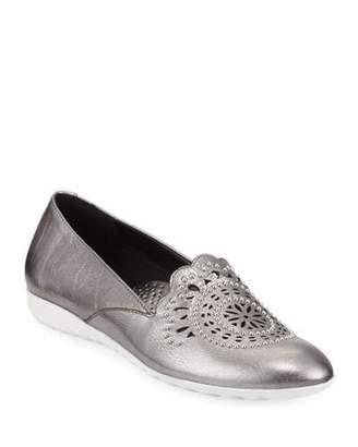 Sesto Meucci Ben Embellished Metallic Leather Comfort Loafers
