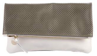 Clare Vivier Perforated Fold-Over Leather Clutch