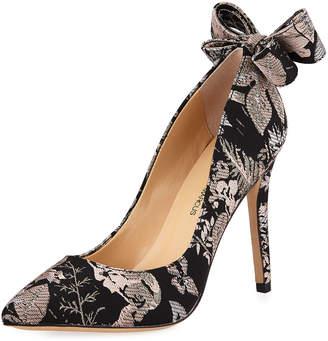 Neiman Marcus Verity High-Heel Brocade Bow Pumps