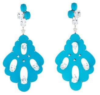 Topaz and Diamond Scalloped Chandelier Earrings Blue Topaz and Diamond Scalloped Chandelier Earrings