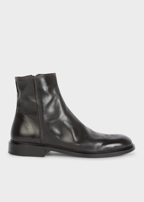 Paul Smith Men's Black Leather 'Billy' Zip Boots