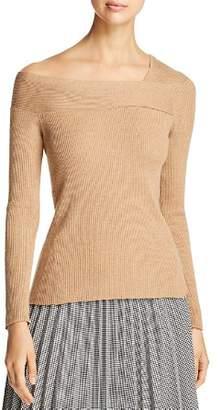 Donna Karan Ribbed Asymmetric Neck Sweater