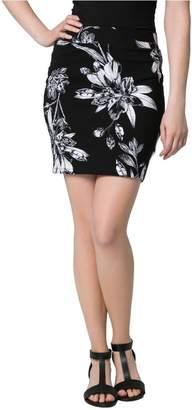 Le Château Women's Floral Print Jersey Mini Skirt,S