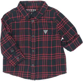 GUESS Boy's Plaid Cotton Collared Shirt