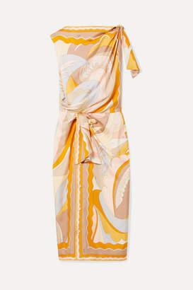 Emilio Pucci Knotted Printed Silk-twill Midi Dress - Peach