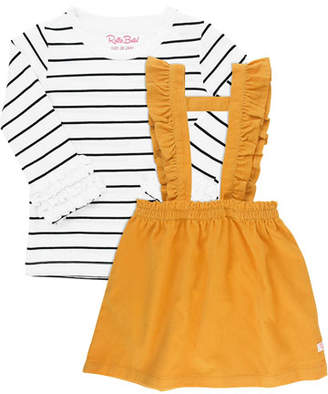 RuffleButts Girl's Corduroy Skirt Overalls w/ Stripe Tee, Size 12M-8