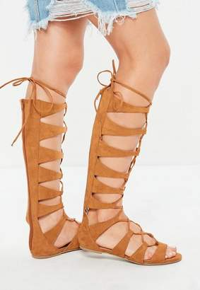 Missguided Tan Multi Strap High Leg Gladiator Sandals