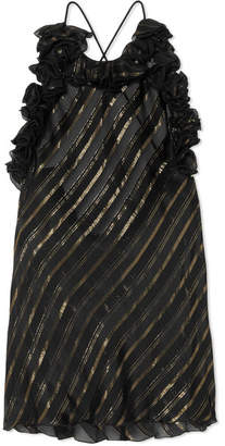 Philosophy di Lorenzo Serafini Ruffled Metallic Striped Silk-blend Camisole - Black