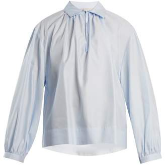 Stella McCartney Gathered Cotton Poplin Shirt - Womens - Blue