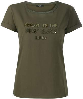 Liu Jo slogan embellished T-shirt