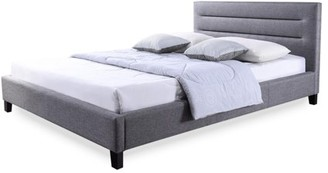 Baxton Studio Hillary Modern and Contemporary Grey Fabric Upholstered Platform Base Bed Frame, multipl sizes