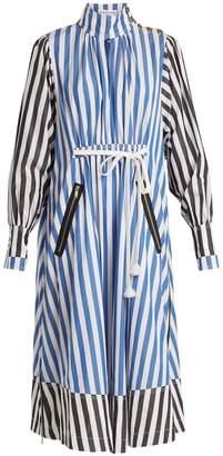 SONIA RYKIEL Balloon-sleeved striped cotton-poplin dress