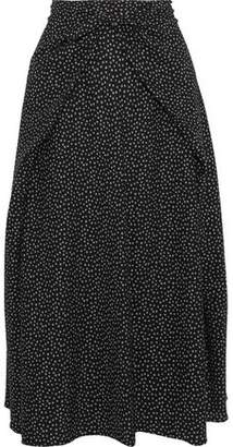 Vince Tie-Front Printed Stretch-Silk Midi Skirt