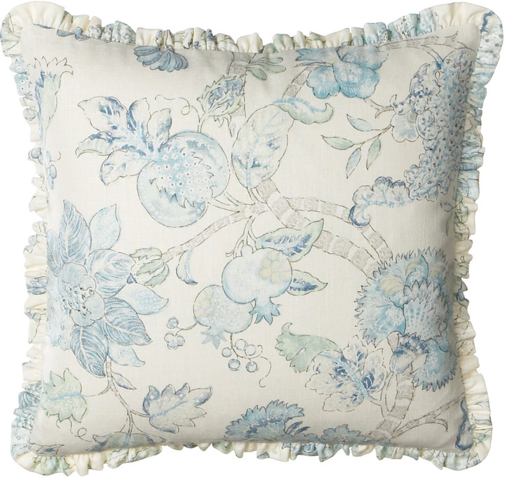 "Legacy Ruffled Floral Pillow, 20""Sq."