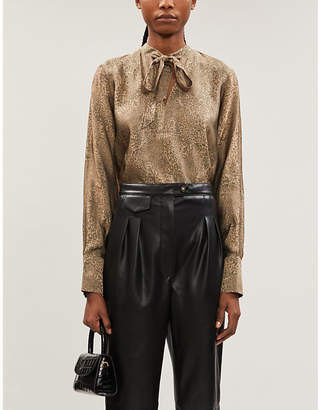 J Brand Mira bow-tie jacquard blouse