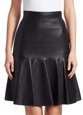 Akris Punto Ruffled Leather Fit-&-flare Skirt