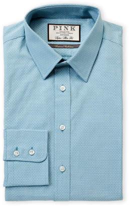 Thomas Pink Super Slim Fit Pattern Long Sleeve Dress Shirt