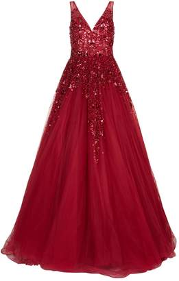 Jovani Embellished Tulle Skirt Gown