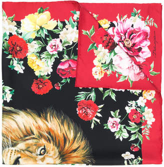 Dolce & Gabbana lion and floral print scarf