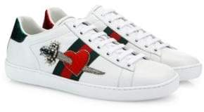 Gucci New Ace Pierced Heart Leather Sneakers